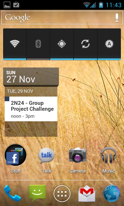 Screen Capture of Natively Reach Ice Cream Sandwich